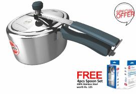 Pressure Cooker- United Platinum  CIBO X1 IL Aluminium body with SS Lid - Silicone Handles 3 Ltr.