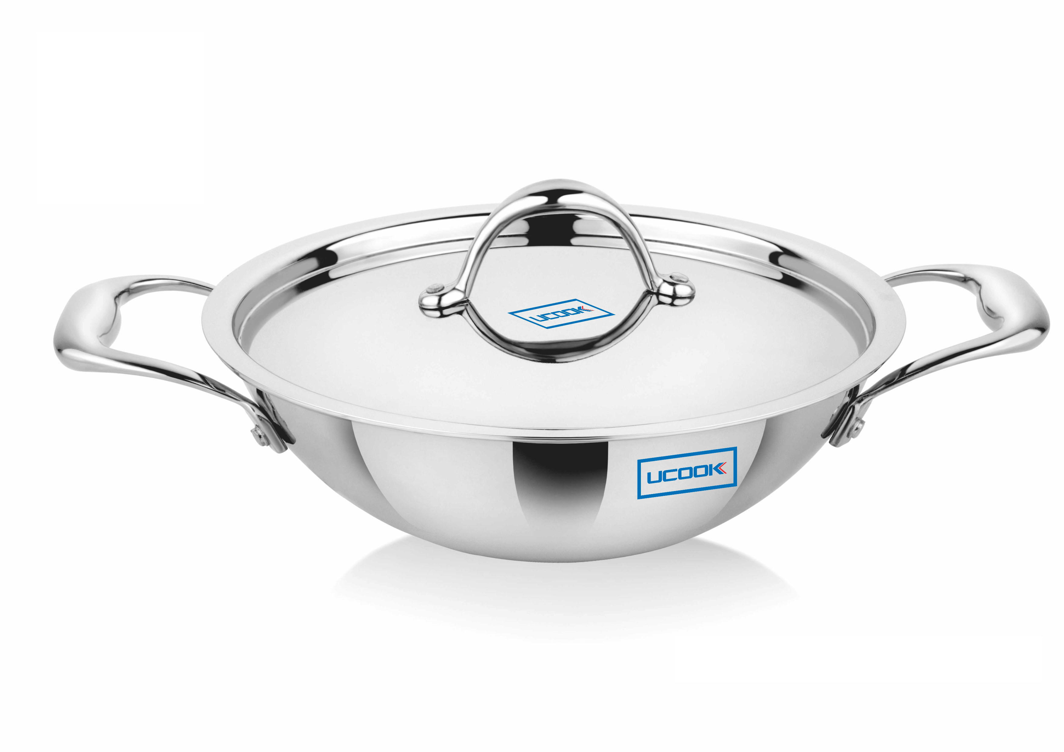 Cookware Premium- UCOOK SS Triply Kadhai Induction Compatible with Lid