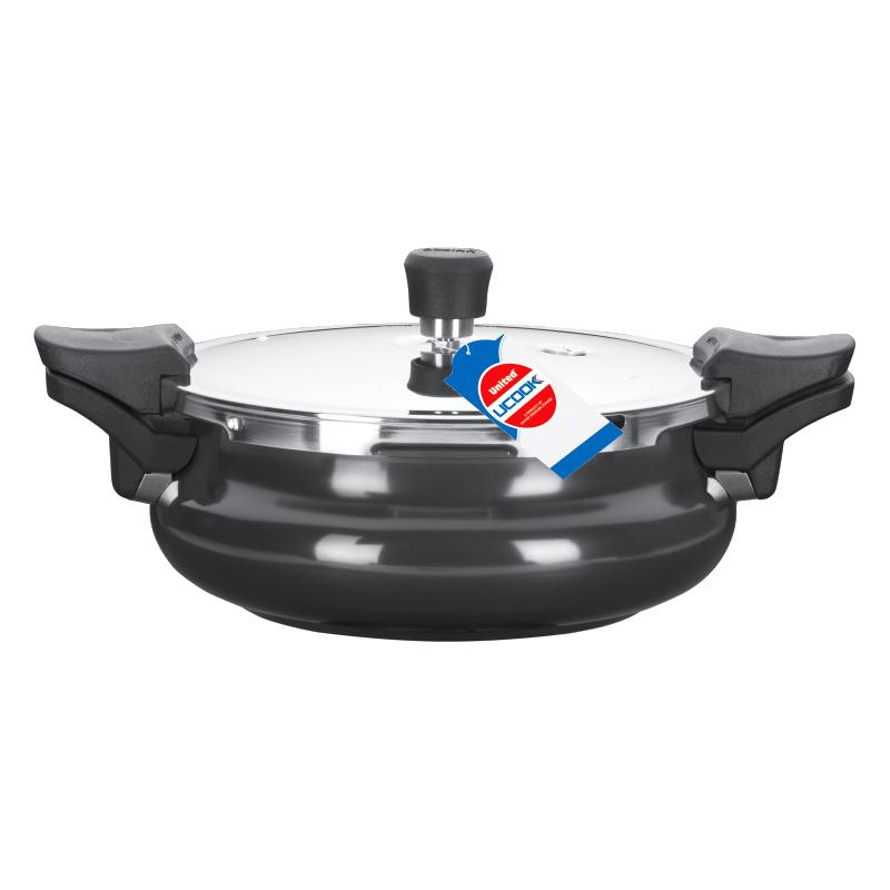 Pressure Cooker- UCook Smart 3 in 1 Hard Anodised Induction base-Strainer Server 3 Litre