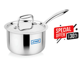 Cookware Premium- UCOOK SS Triply Saucepan Induction Compatible with Lid
