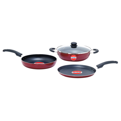 Cookware - UCOOK NS Set 3+1 Kadai 240mm with Glass Lid, Frypan 240 mm and Dosa Tawa 250mm all with Induction Base
