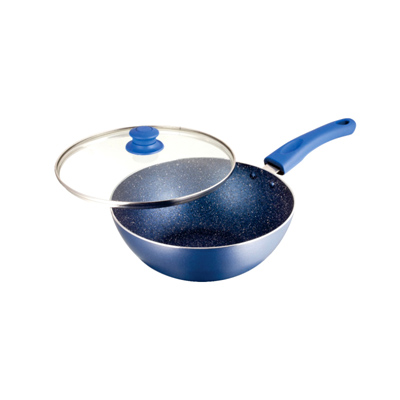 Cookware- UCOOK NS Wok 240 mm/3 mm/ 2.75 Litres with lid  Speckle Finish/Soft Handles