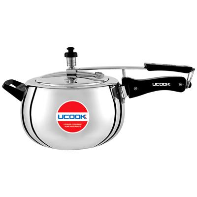 Pressure Cooker - UCOOK Platinum  Silvo Bulging Shape Aluminium Inner lid Cooker 5 Ltr