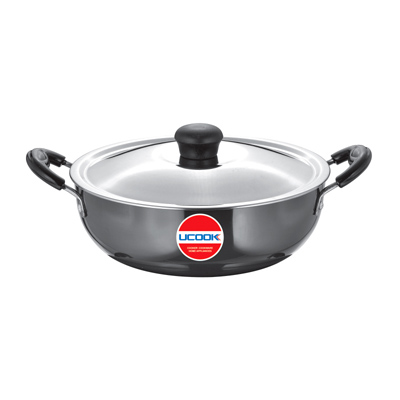 Ucook Platinum Hard Anodised Kadai 5Ltr with Lid & Induction Base 3.25mm