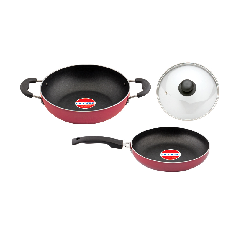 Cookware- Ucook Platinum Non Stick Set 2+1 Kada 240 mm with Glass Lid and Frypan 240mm both with Induction Base